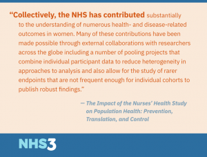 Collectively, the NHS has contributed substantially to the understanding of numerous health- and disease-related outcomes in women. Many of these contributions have been made possible through external collaborations with researchers across the globe including a number of pooling projects that combine individual participant data to reduce heterogeneity in approaches to analysis and also allow for the study of rarer endpoints that are not frequent enough for individual cohorts to publish robust findings.